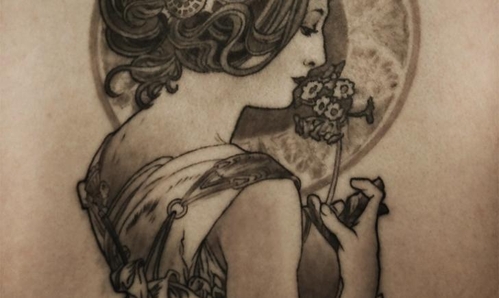 Stunning tattoos inspired by alphonse mucha for 19th century tattoos