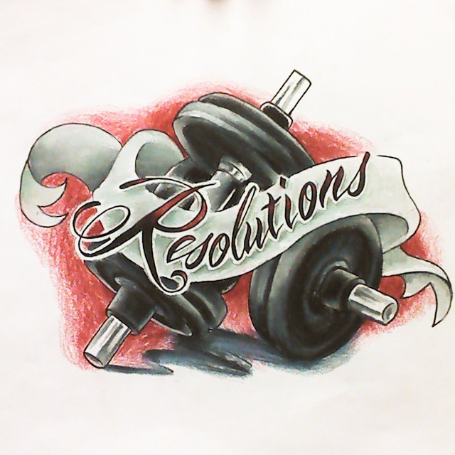 Tattoo design based around new year resolutions and for Weightlifting tattoo designs
