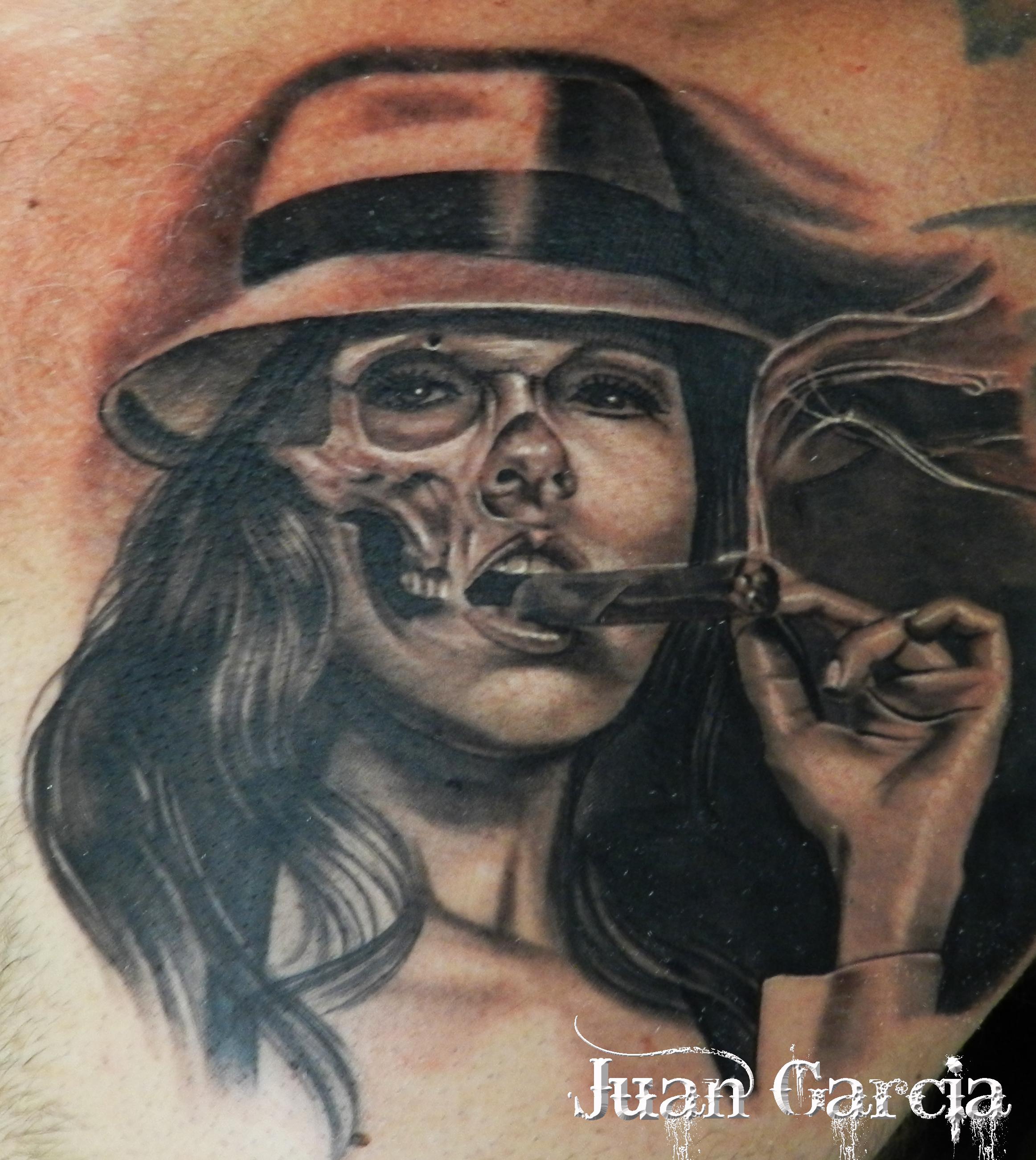 Black And Grey Gangster Girl Smoking Cigar Half Skull Face Tattoocom