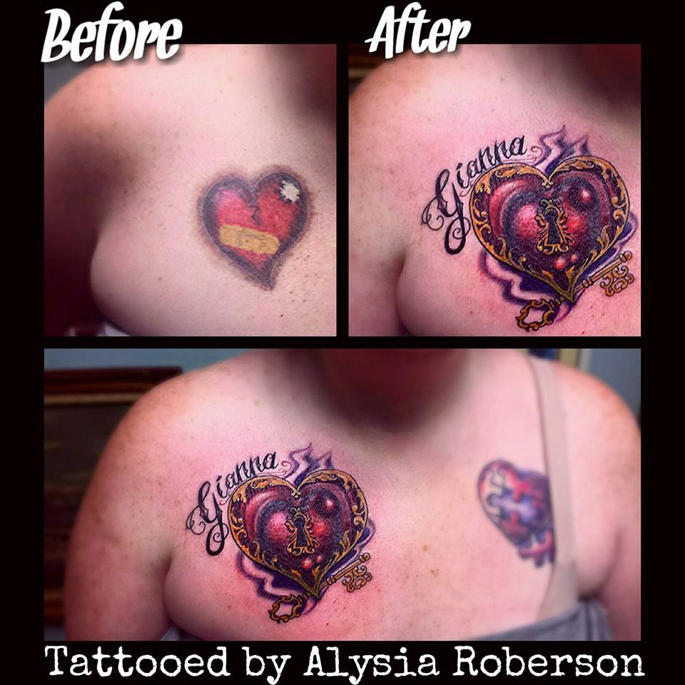 Cover up of old heart tattoo with a cool heart lock key for Cool cover up tattoos