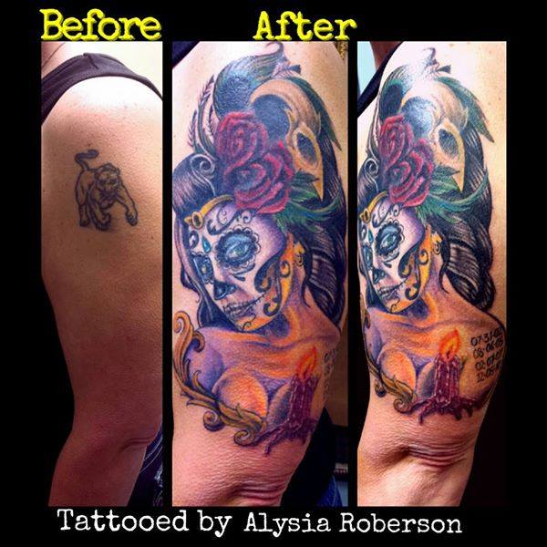 Cover-up of old lion tattoo with a day of the dead sugar skull pinup ...