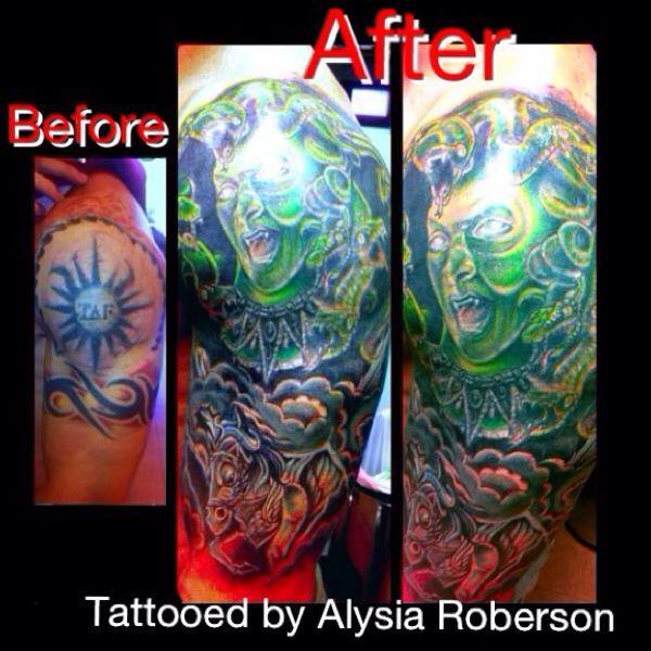 cover-up of old tribal tattoo and tribal band with greek mythology