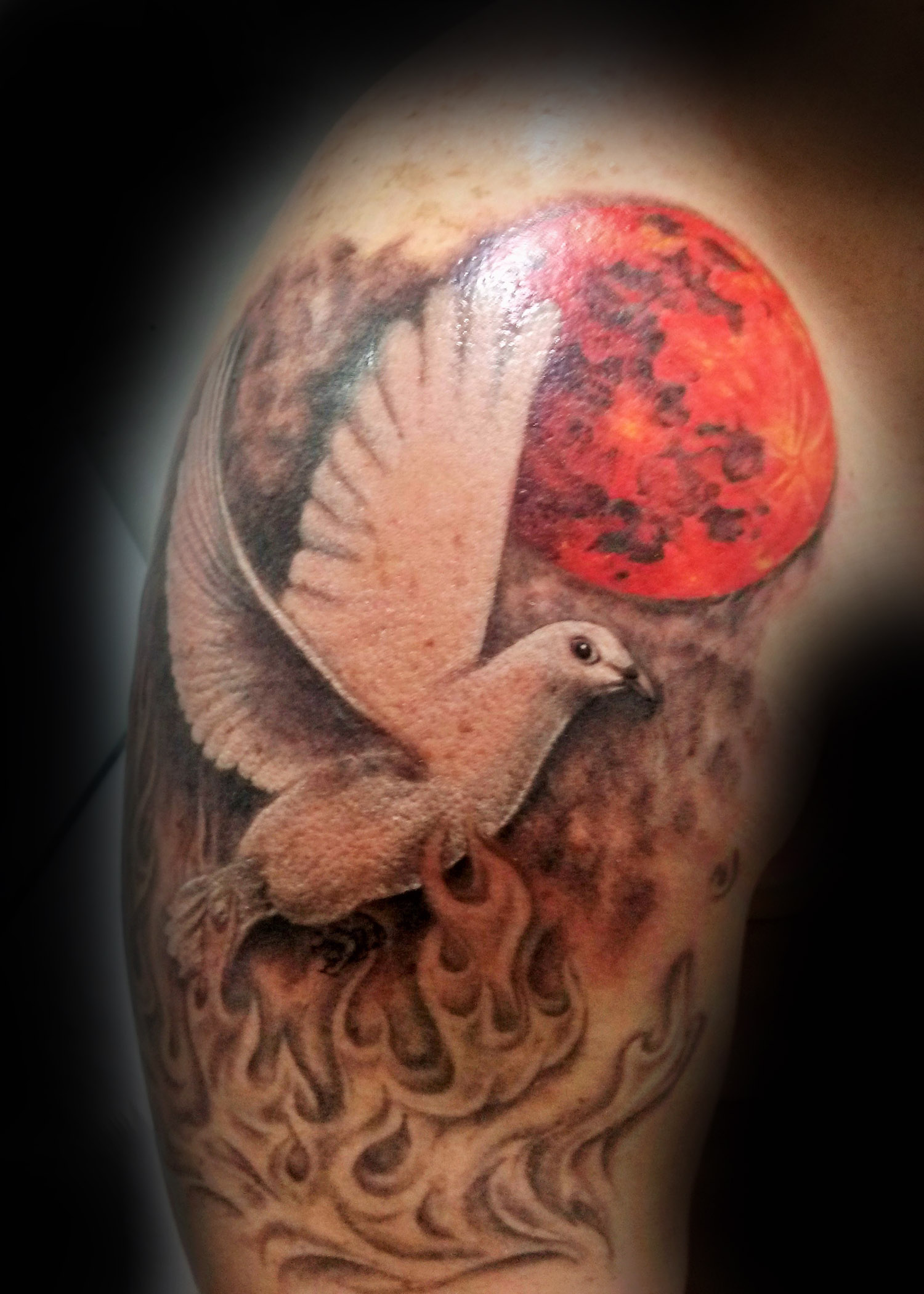 Realistic dove with blood moon and black and gray fire