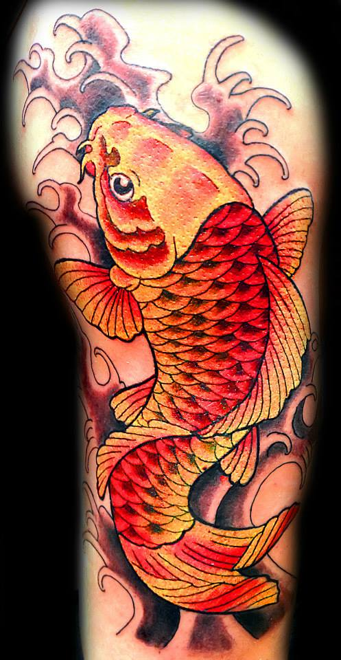 Japanese Koi Fish Tattoo In Color By Jenny Forth At Pirate Tattoo