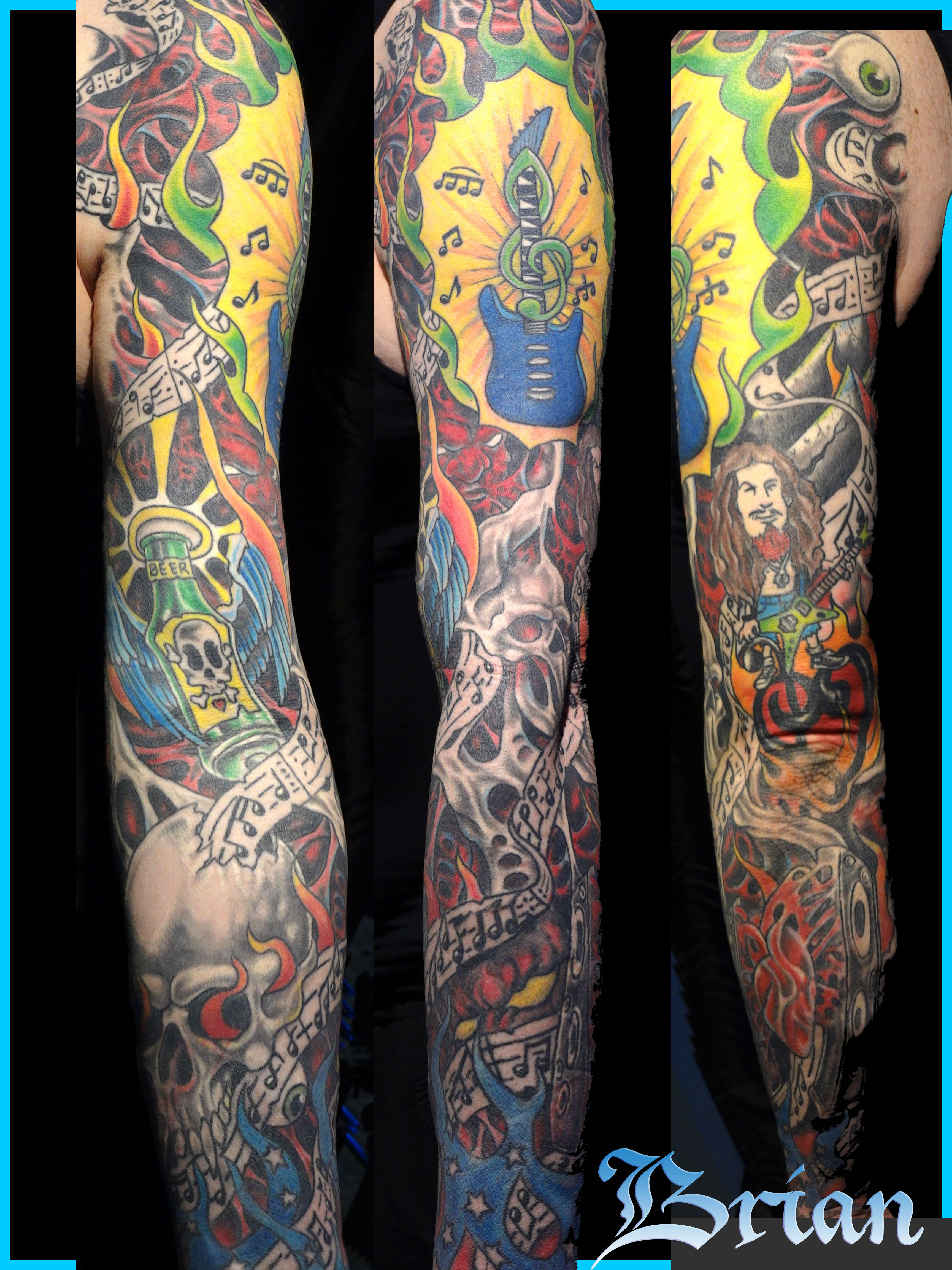 A Brightly Colored Sleeve Adorned With Grey Skulls Tattoocom
