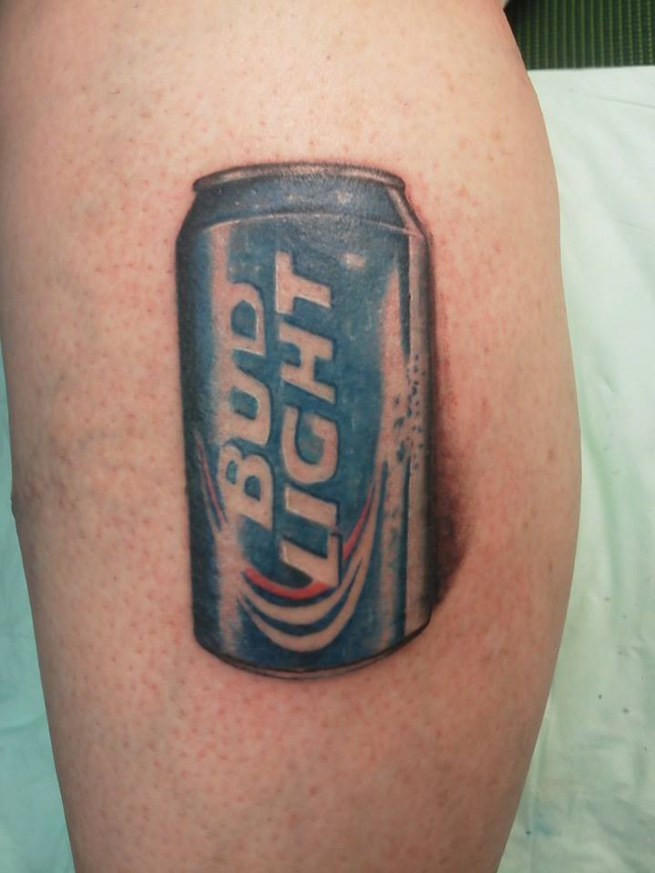Brian Dollar Tattoo: Bud Light Can About The Size Of A Half Dollar