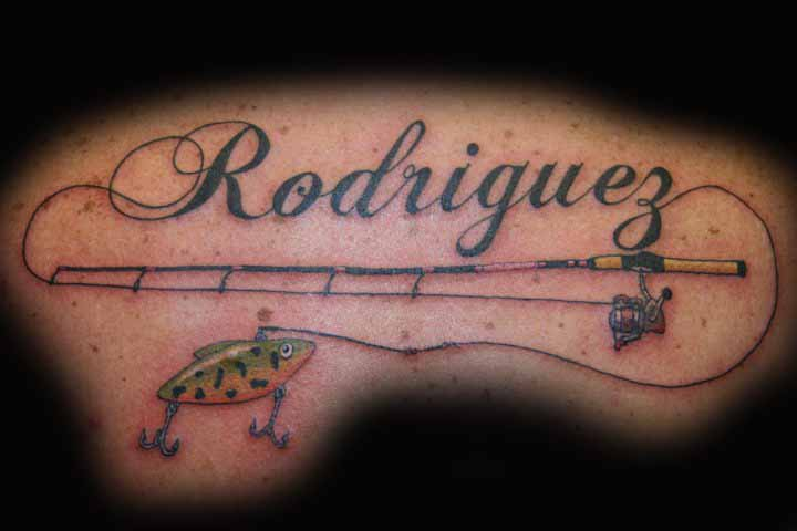 fishing pole tattoo com rh tattoo com Fishing Poles Memorial Tattoos Fishing Pole and Line Tattoo