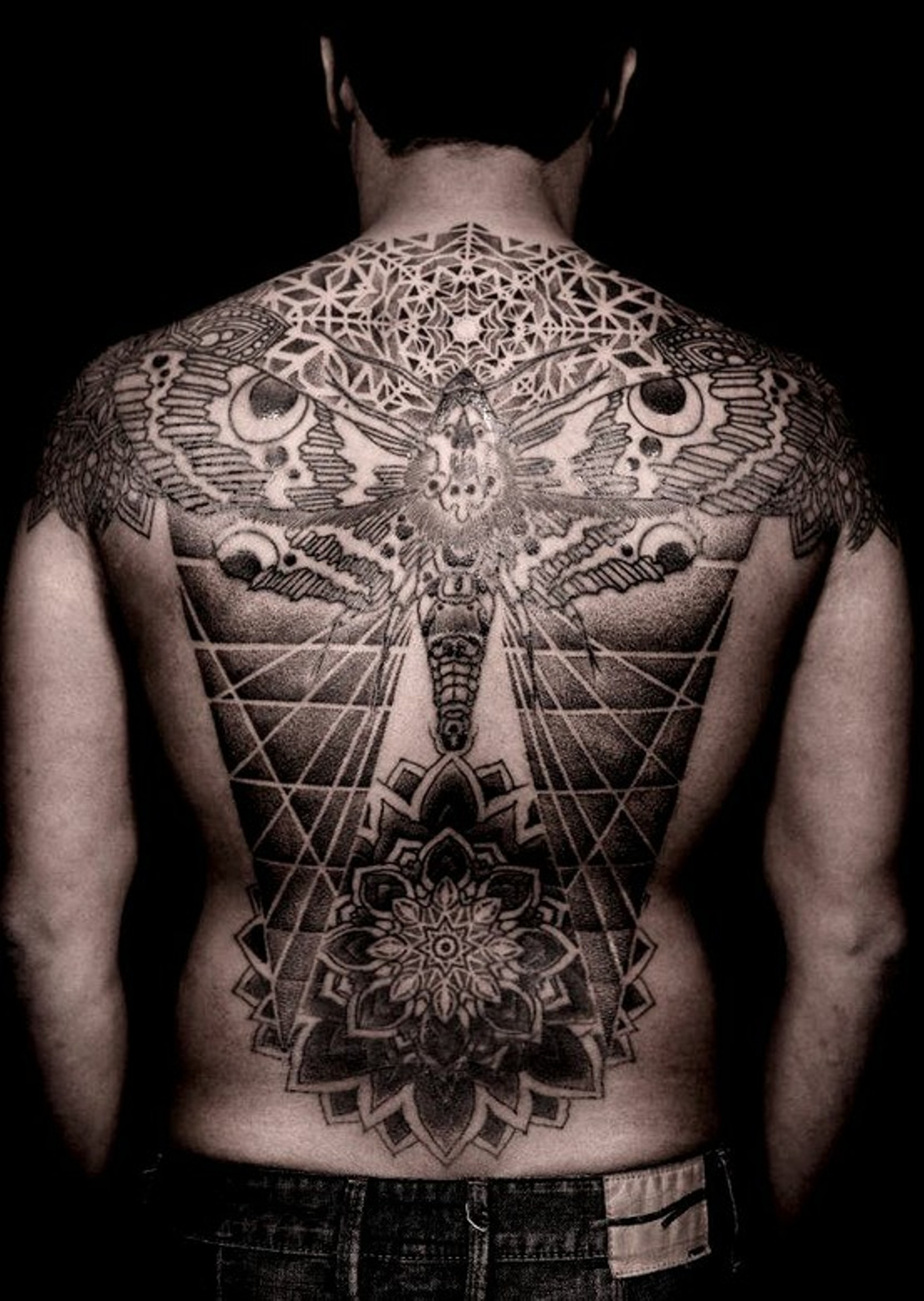 6da0d3b6da3b9 Done @ Saved Tattoos – NY – Artist: Thomas Hooper.. Mix of scared geometry  / mandalas and the moth.
