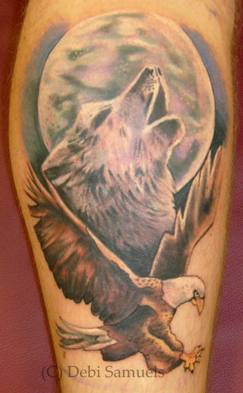 b941b6037 wolf howling at moon with eagle - Tattoo.com
