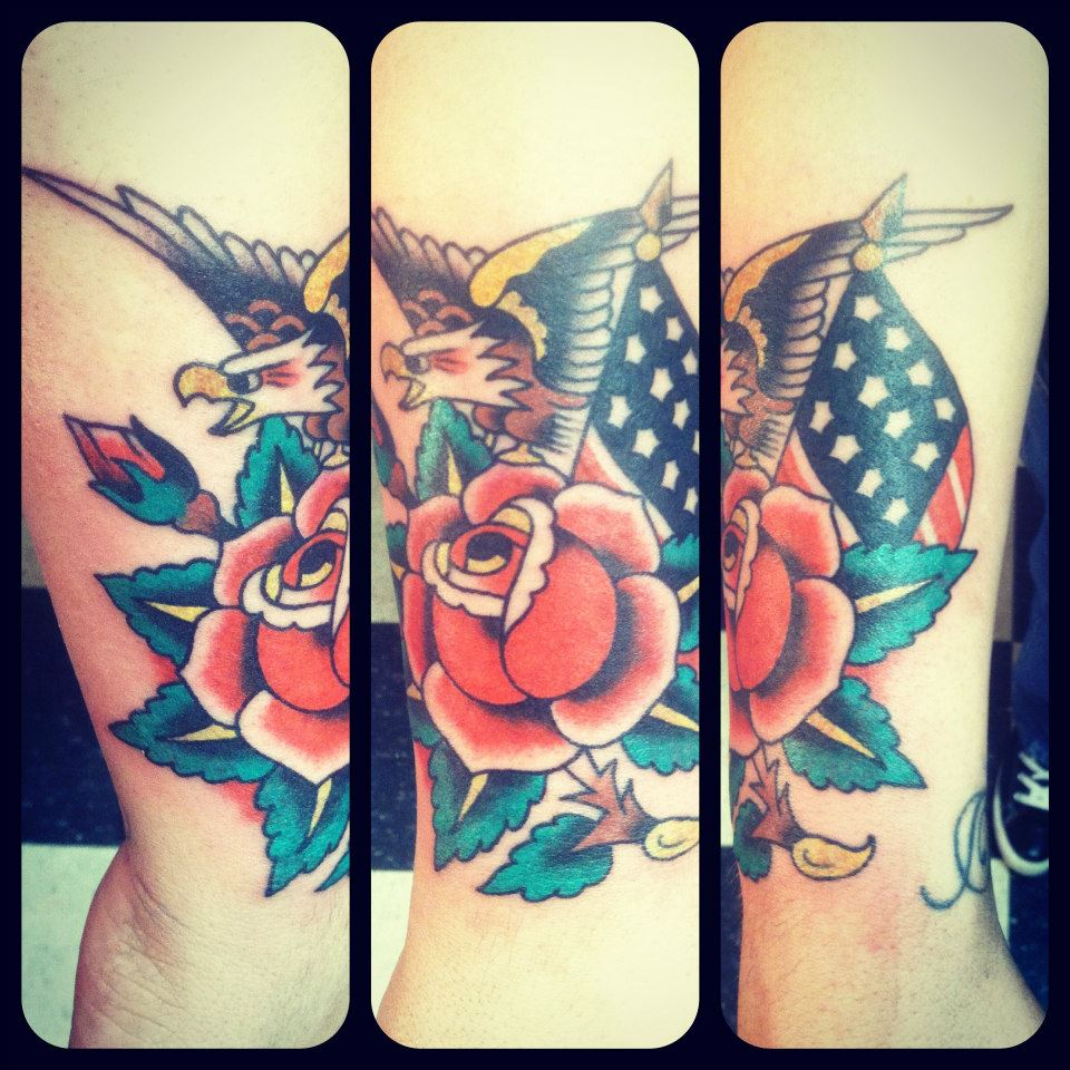 Eagleroseflag Tattoo Done By Marcus Long Tattoocom
