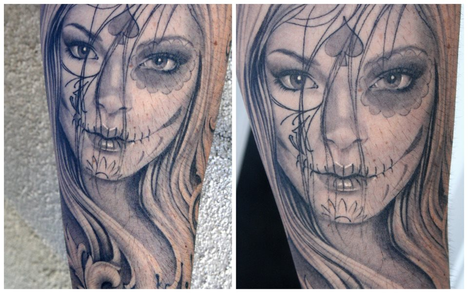 Black And Grey Day Of The Dead Girl Tattoocom