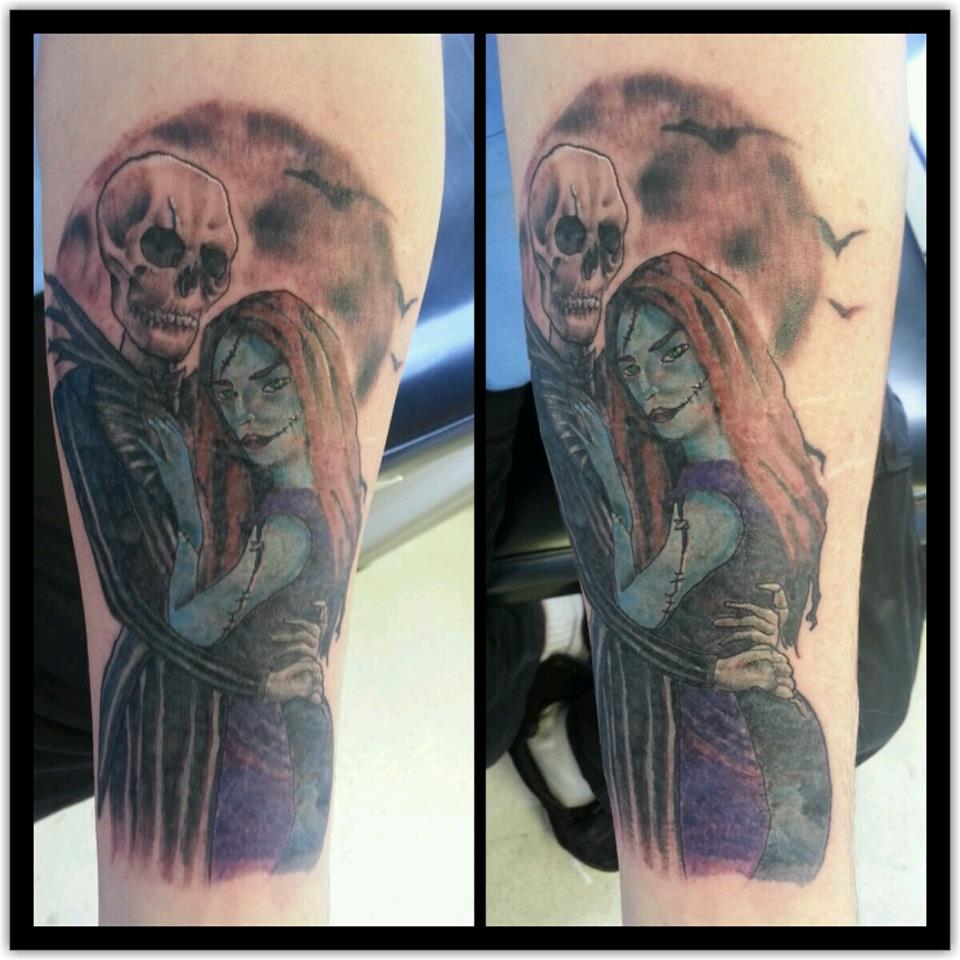 Realistic nightmare before christmas tattoo I did to cover up scars ...
