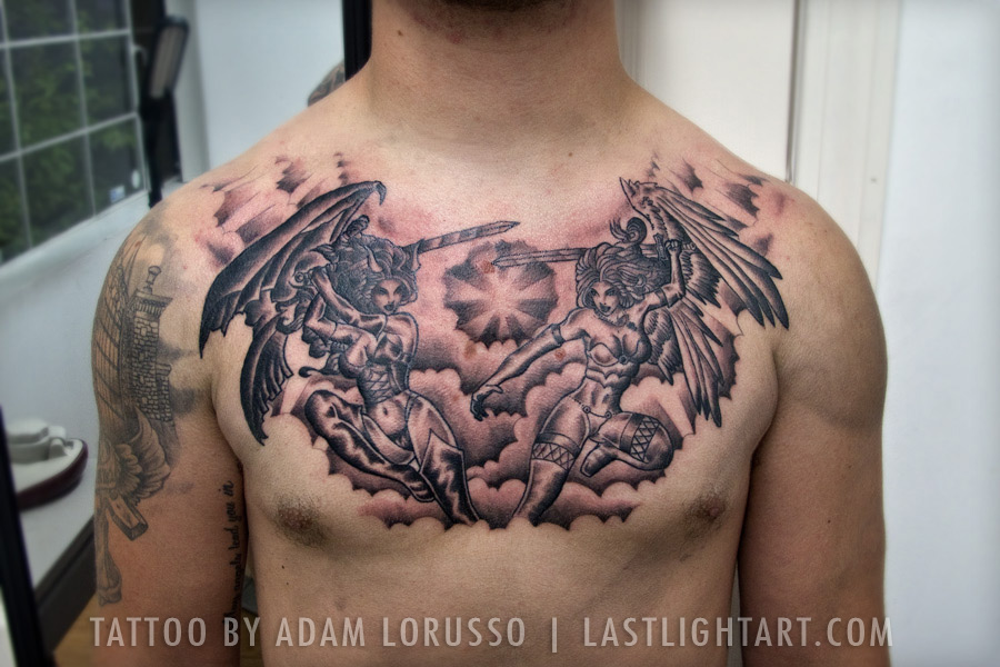 Angels And Demons Good Vs Evil Tattoo By Adam Lorusso At Sugar Skull