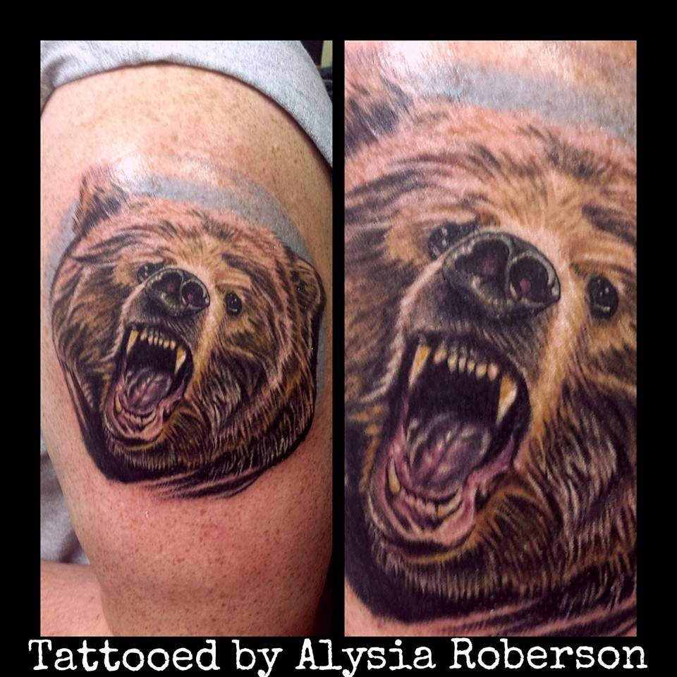 Realistic bear portrait tattooed in color by Alysia Roberson at ...