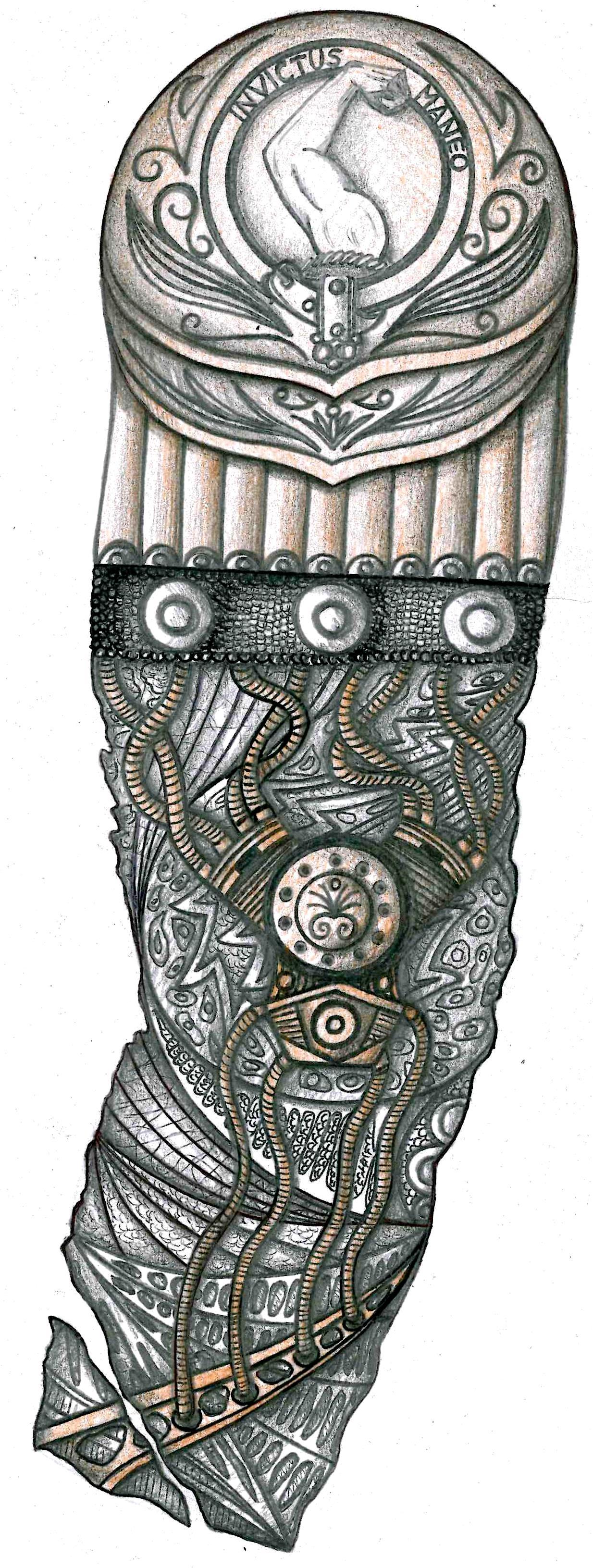 aztec tribal tattoo design for calf. Black Bedroom Furniture Sets. Home Design Ideas
