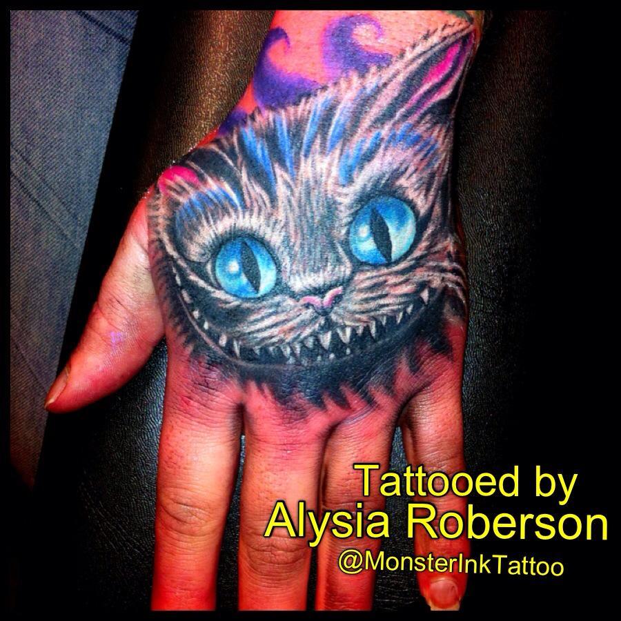 Tim Burtons Alice In Wonderland Cheshire Cat Hand Tattoo By Alysia