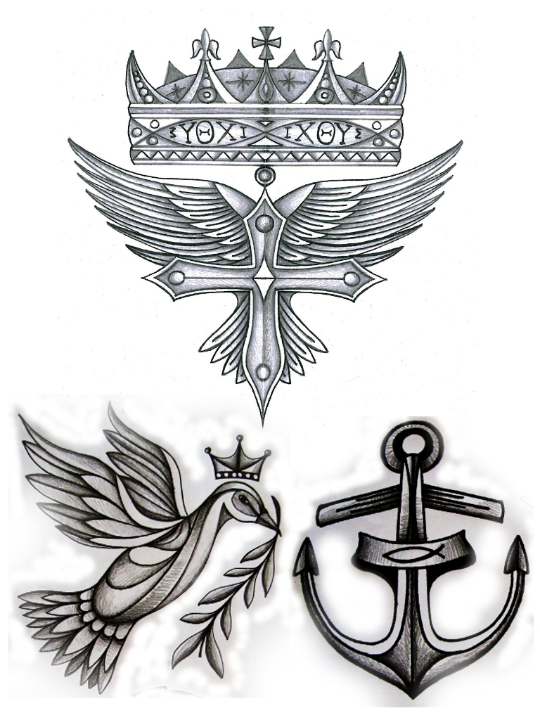 Christian Symbols Cross Crown Fish Anchor Dove And Wings