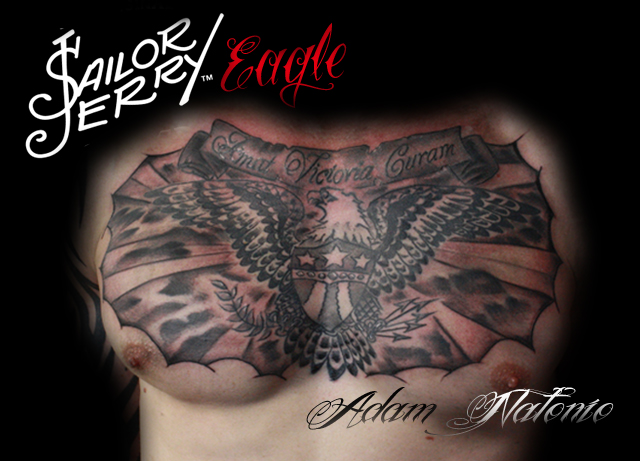 Old School Sailor Jerry-esque Chest Tattoo Created By Adam