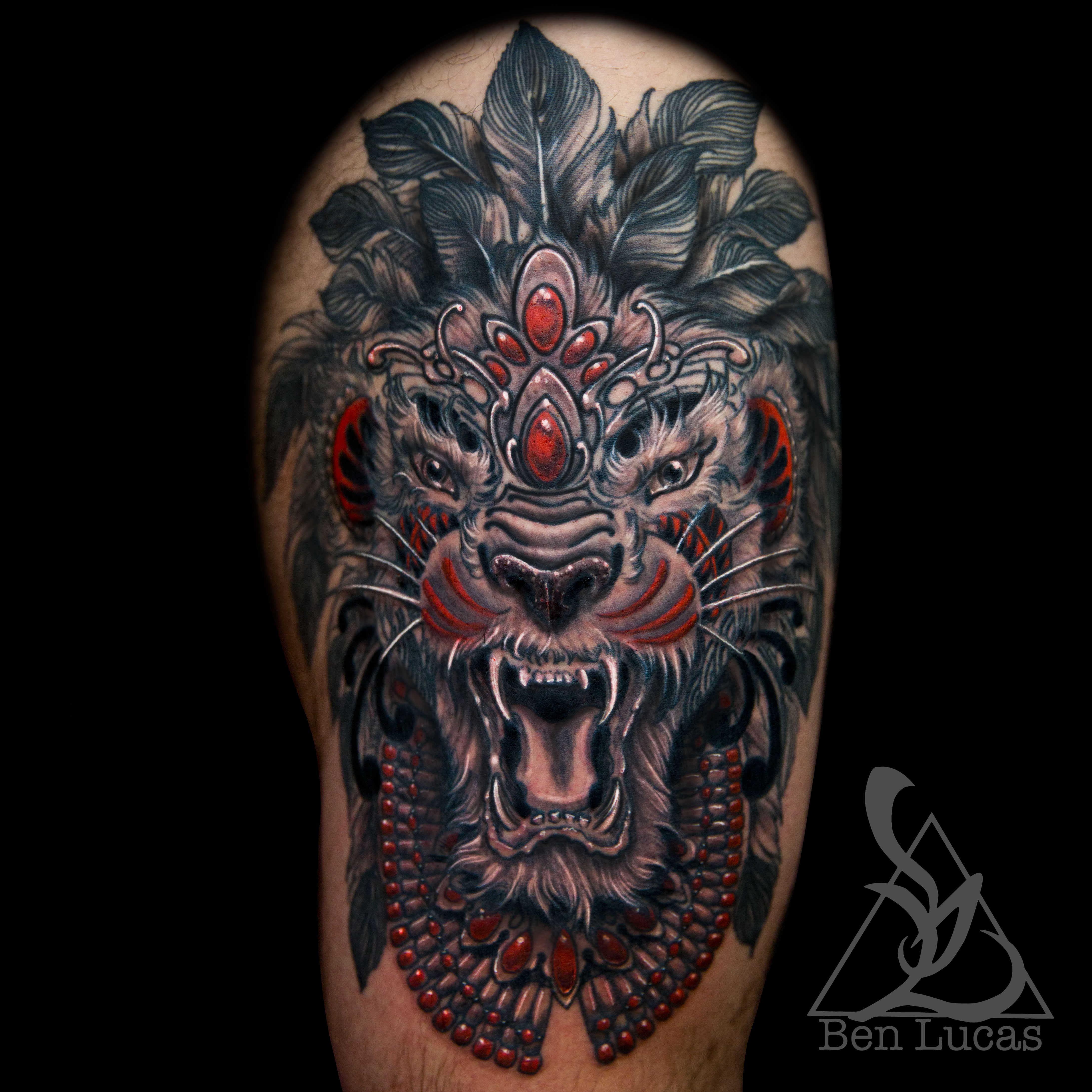 Erwins Black Grey And Red Tribal Lion Thigh Tattoo Done By Ben Lucas