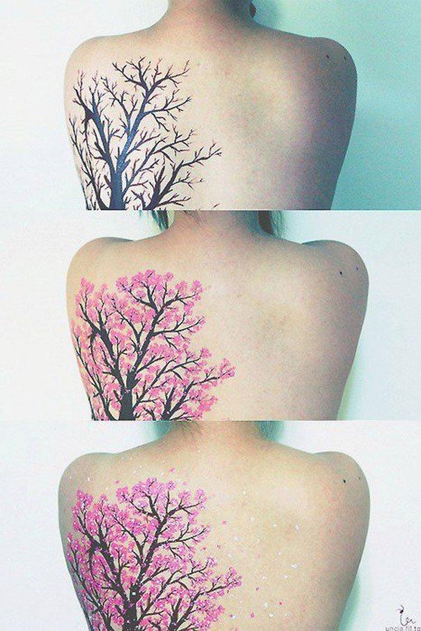 Progression Of A Sakura Tree Tattoo Tattoocom
