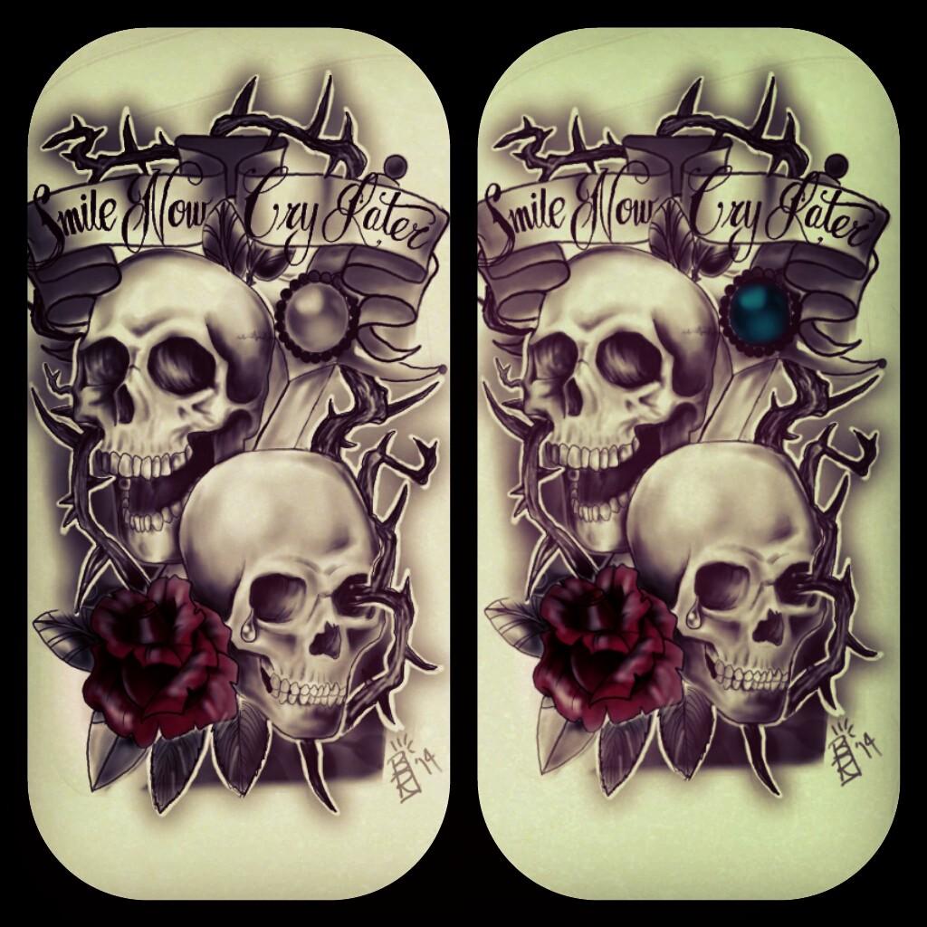 Smile Now Cry Later Skulls Tattoocom