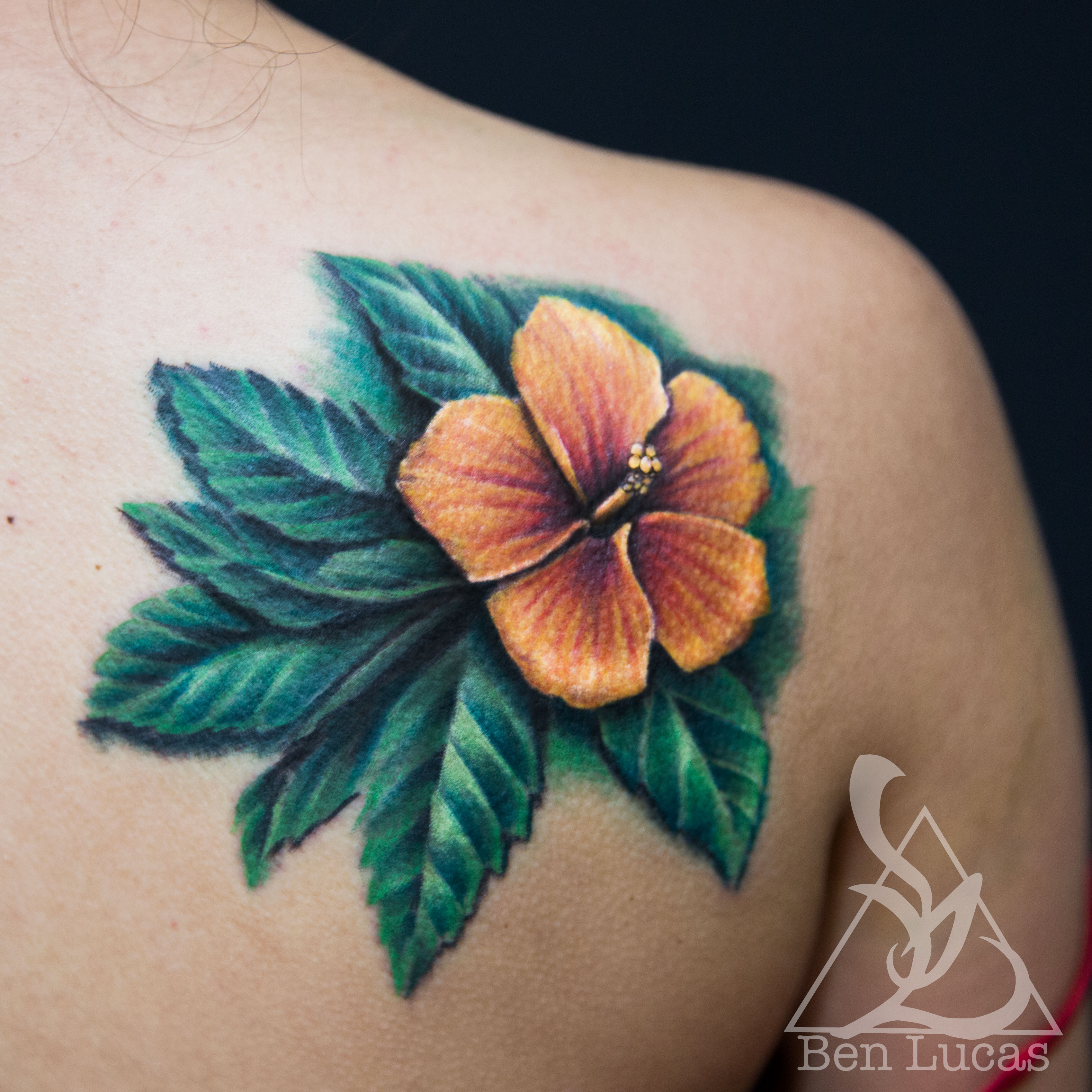 Hummingbird Shape With Tidal Wave In The Negative Space Tattoo On
