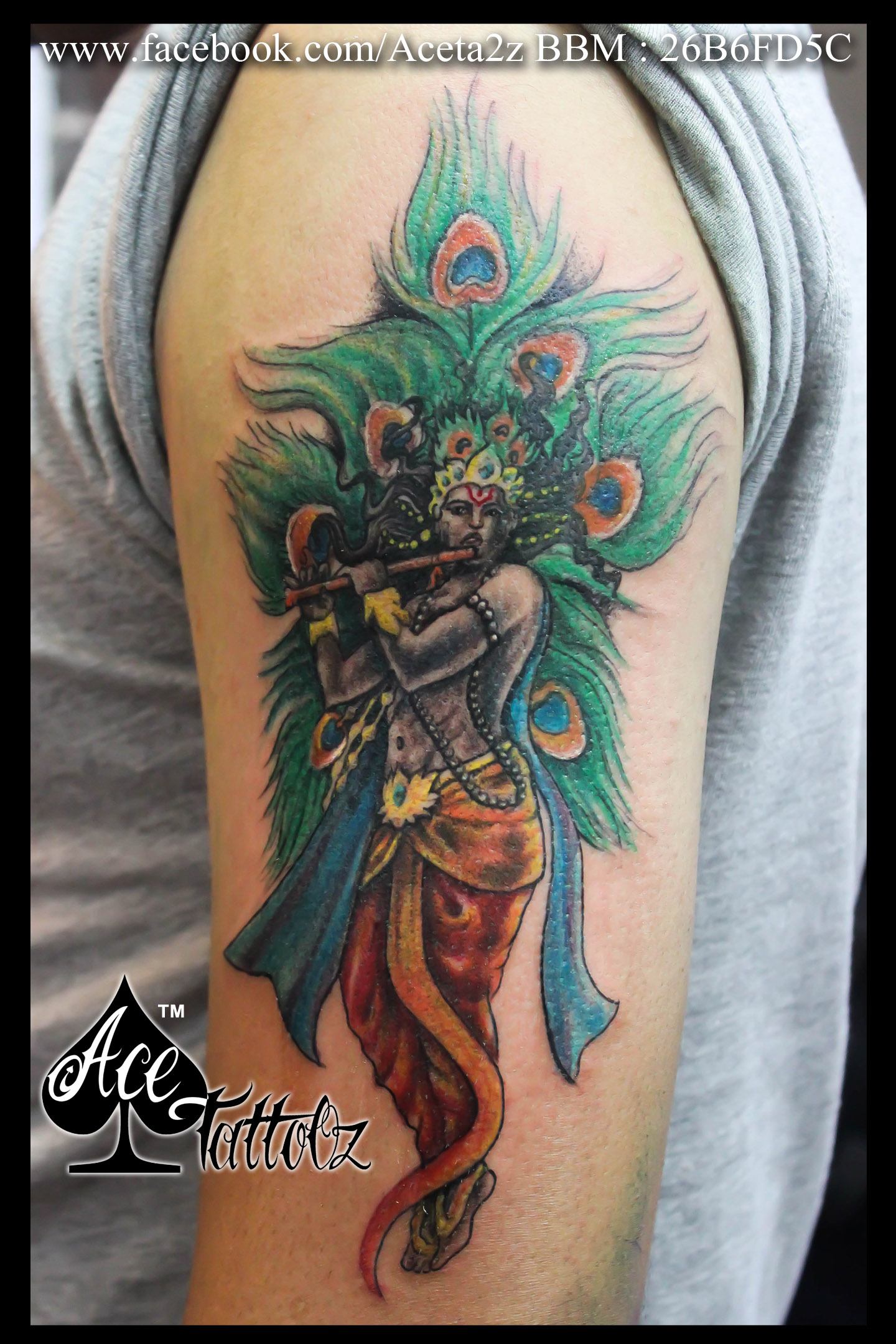 Indian God Lord Krishna Customised With Peacock Feathers On Arm