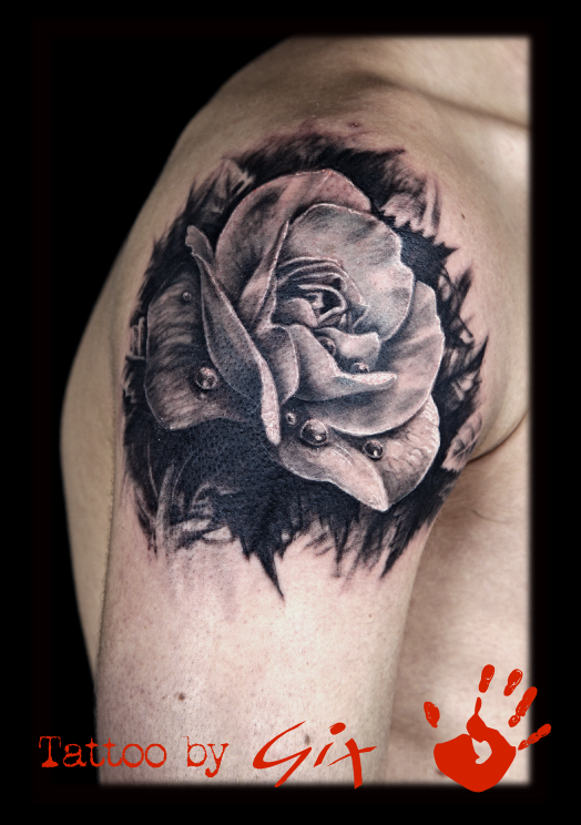 Realistic Rose In Black And White Tattoocom