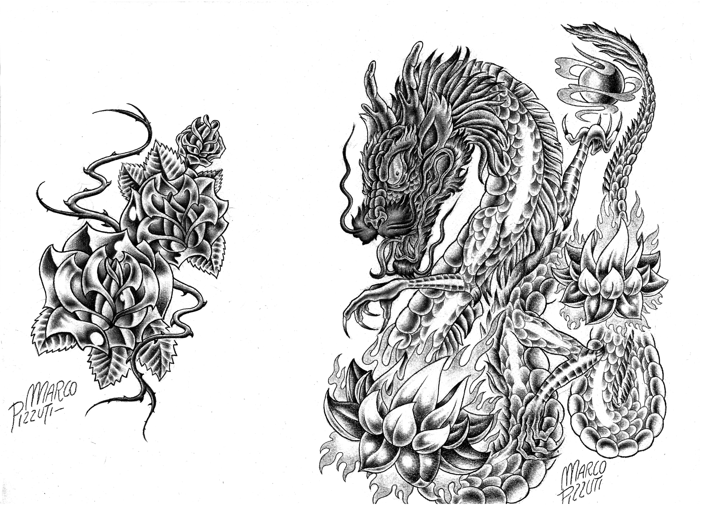 Some metal roses and a dragon with flaming lotus flowers tattoo izmirmasajfo