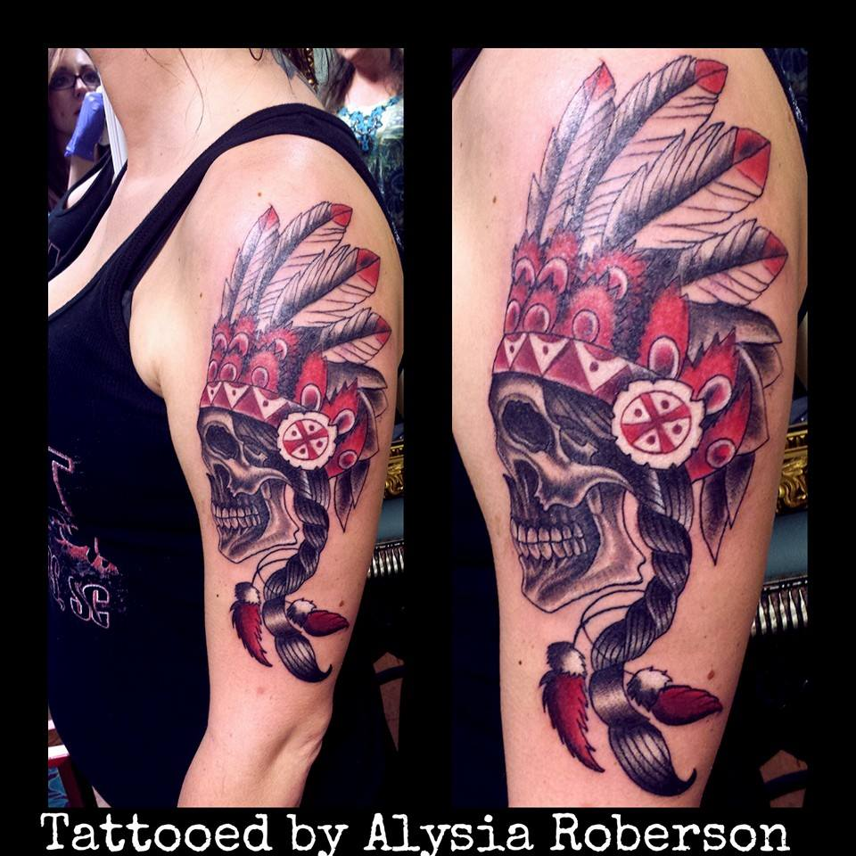 acdfda512f5f9 Traditional Native American Indian skull with headdress tattooed by Alysia  Roberson at Monster Ink Tattoo in Piedmont, SC!