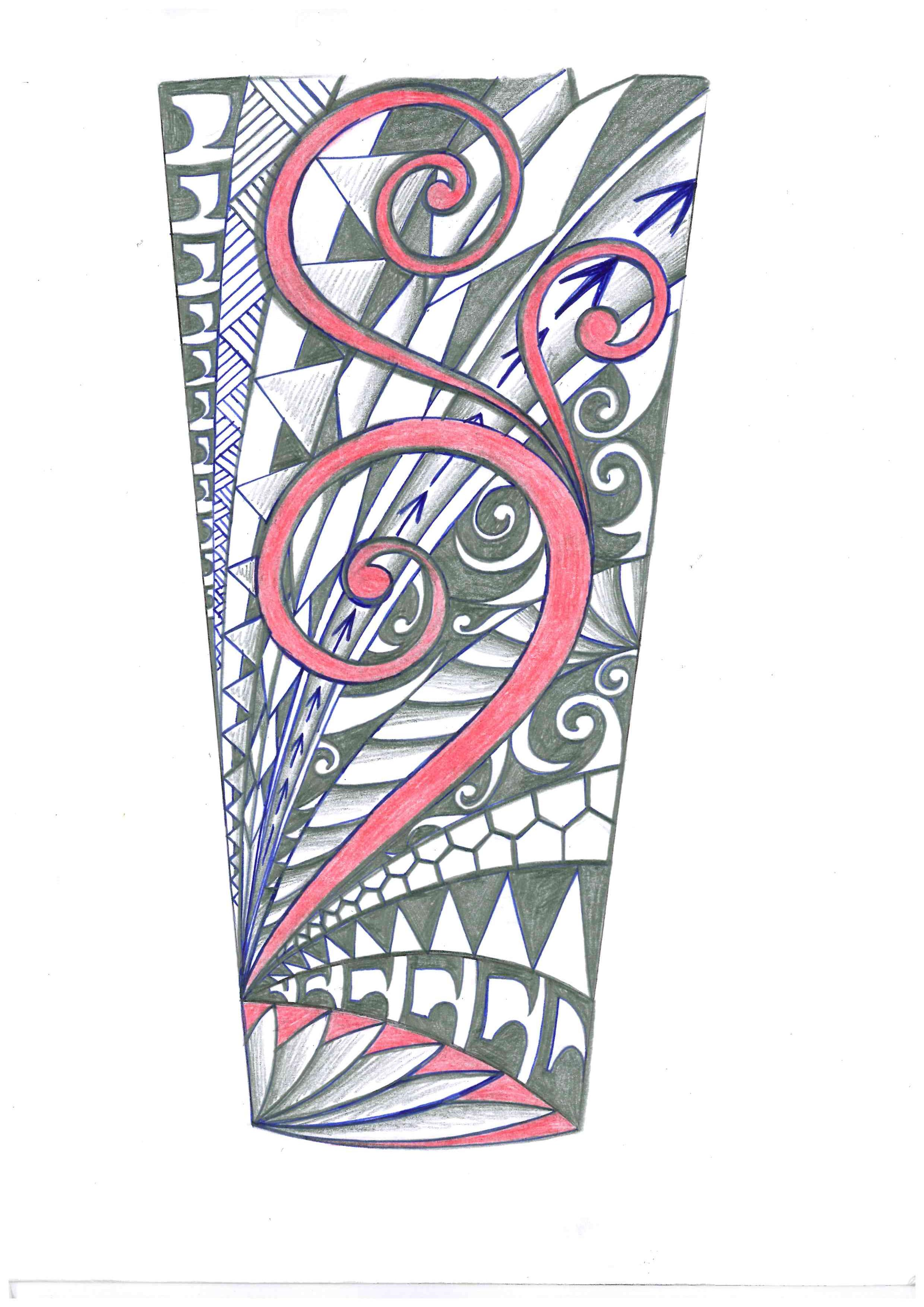 Tribal Tattoo With Color: Tribal Polynesian Forearm Tattoo Design With Red Color