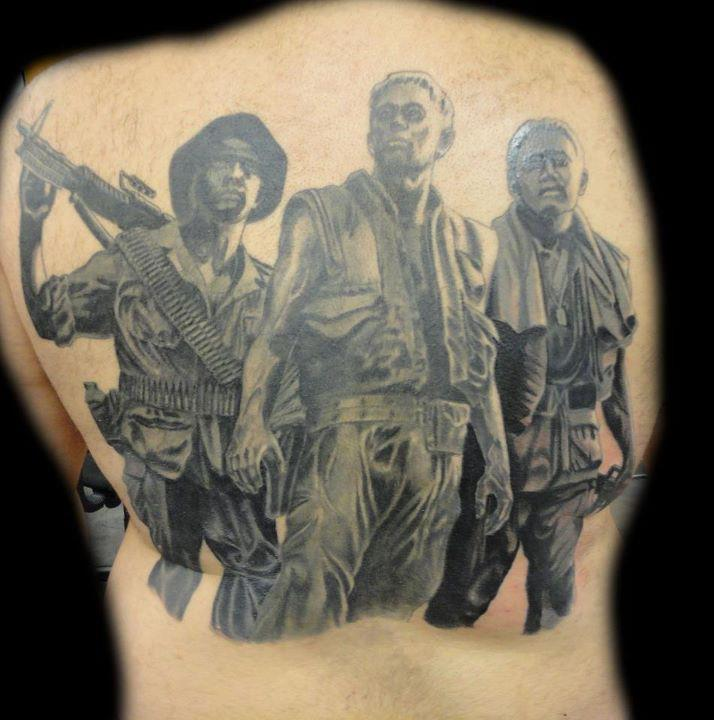 This tattoo is of the vietnam memorial for Washing a new tattoo