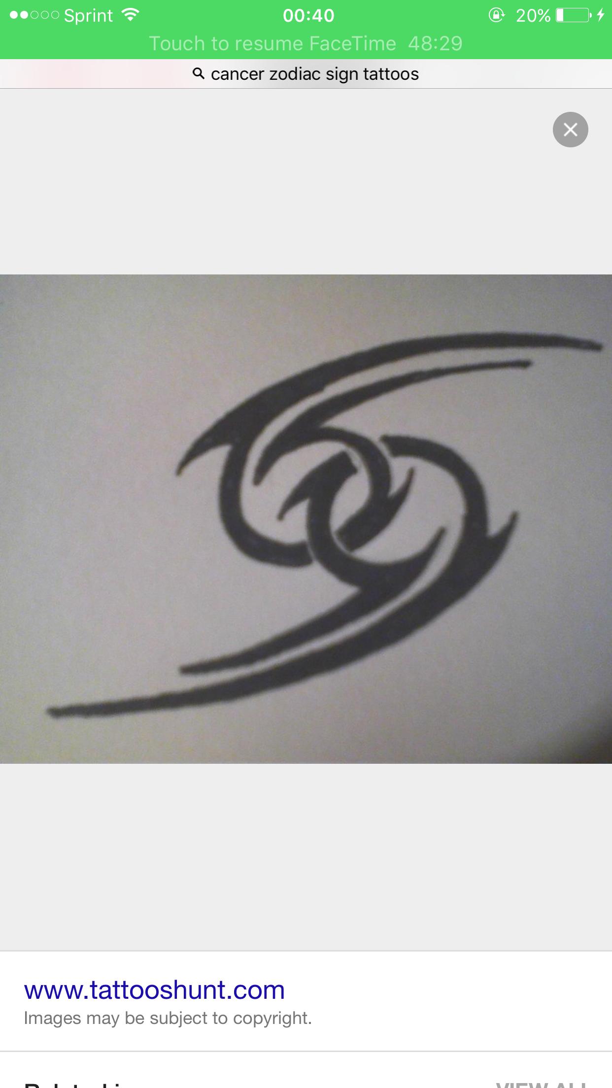 Cancer Zodiac Sign Medium Sized Tattoo Com