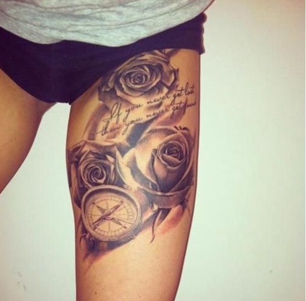 Black And White Roses With A Pocket Watch Tattoo Com