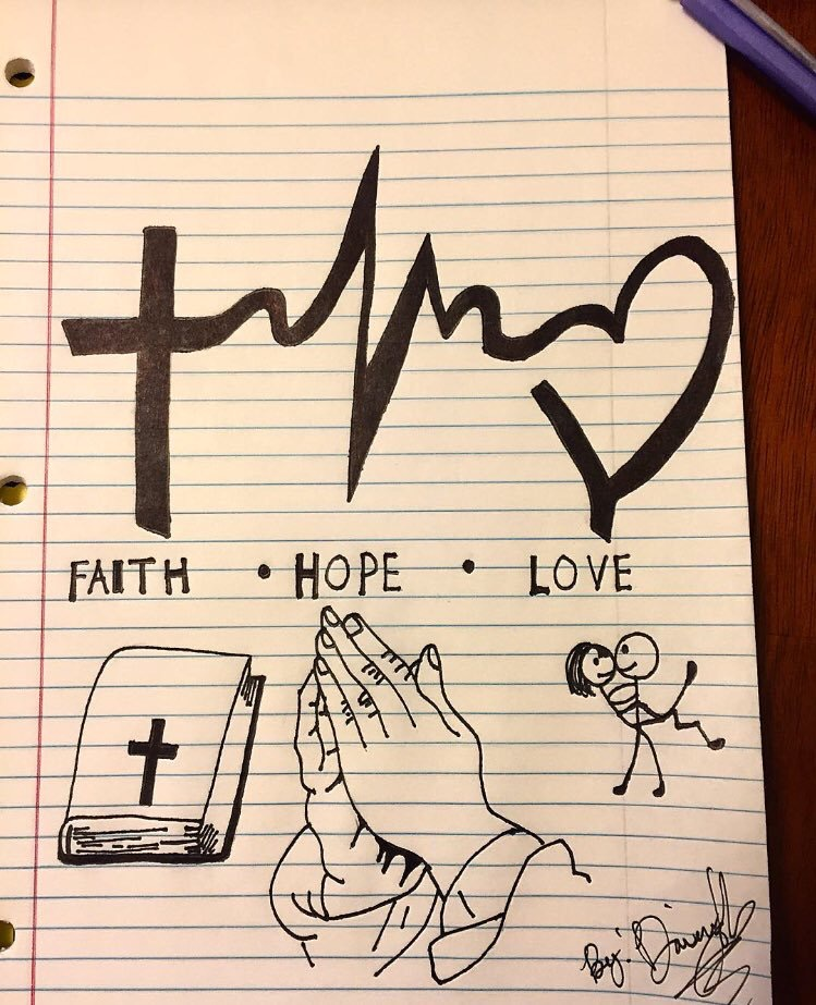 Black Symbols For Faith Hope Love Tattoo