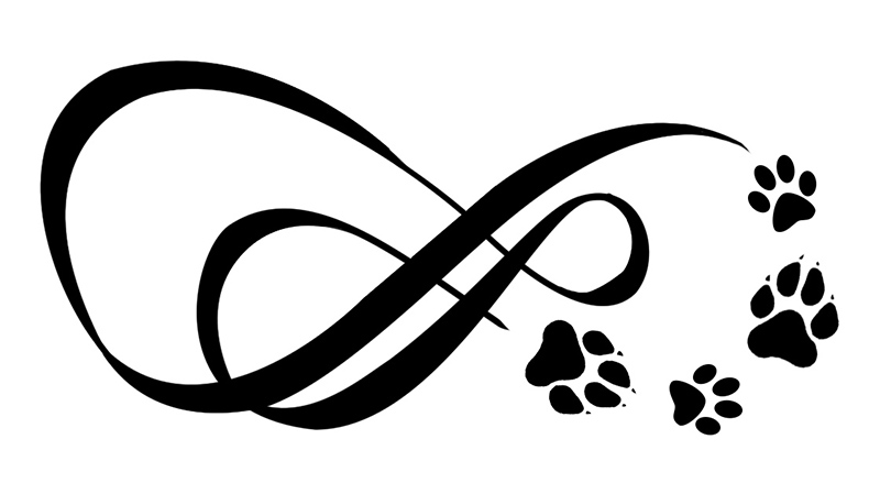 Two Infinity Symbols With Paw Prints Tattoo