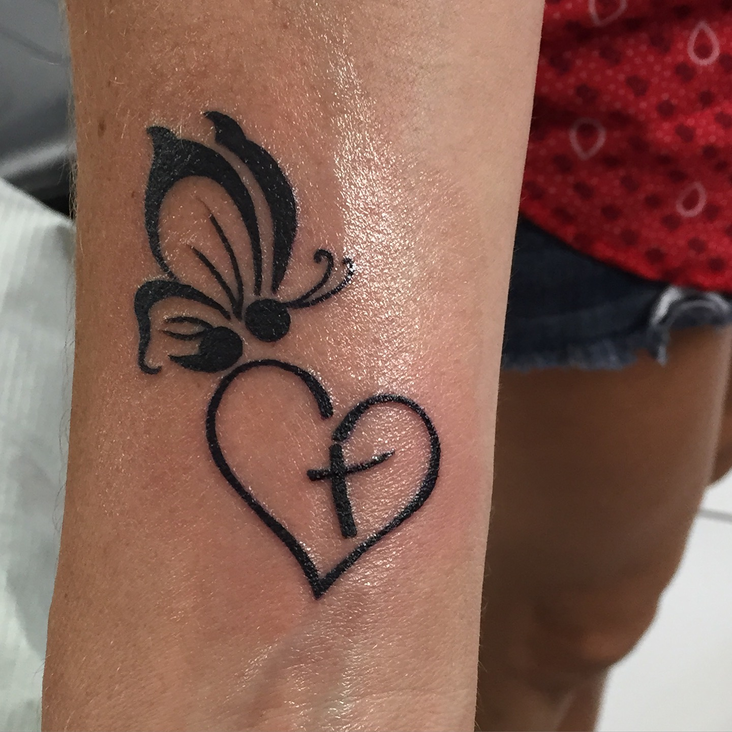 Semicolon Butterfly Open Heart W Cross Inside Tattoo Com