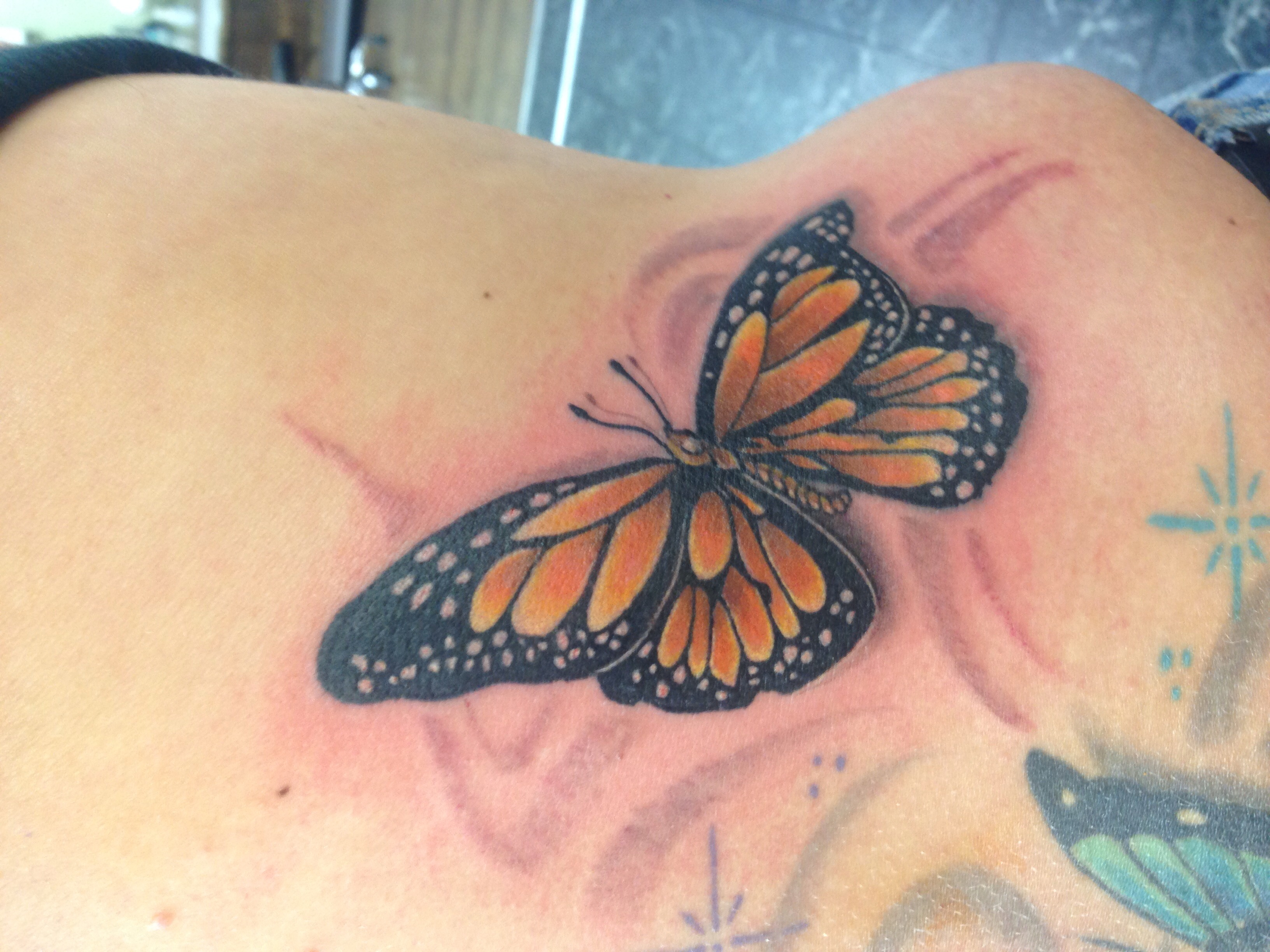 f8dec21b1 #monarch #butterfly #color #3D #tattoo by#savi @ chryenne mountain tattoo co