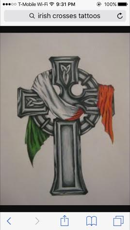 A Celtic Cross With An Irish Flag Through It On Tattoo Com