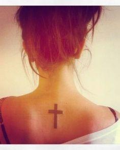 Small Black Cross On Back Inbetween Shoulder Tattoocom