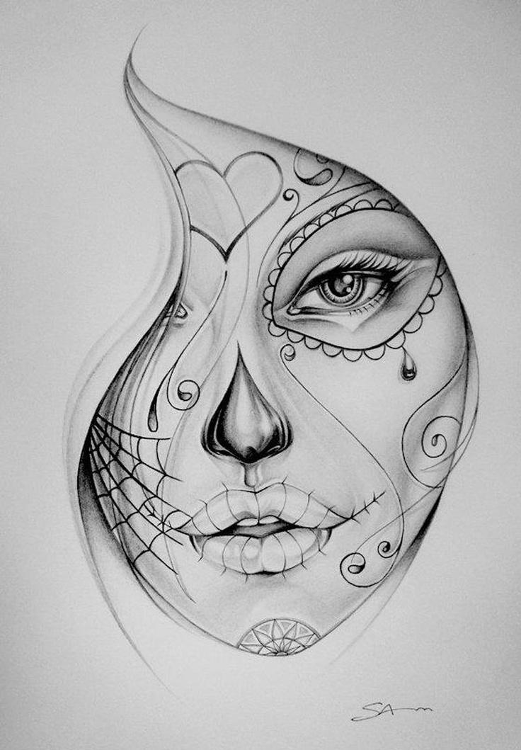 96c657d8ffc69 Female sugar skull - Tattoo.com