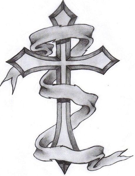 Cross Tattoo Wrapped In Ribbon Tattoocom