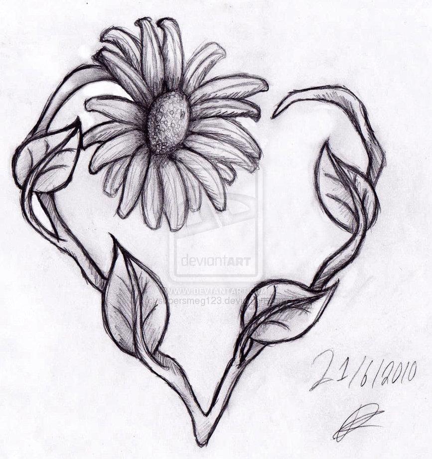 3a53f1dbf single daisy stem heart on wrist, all black and - Tattoo.com
