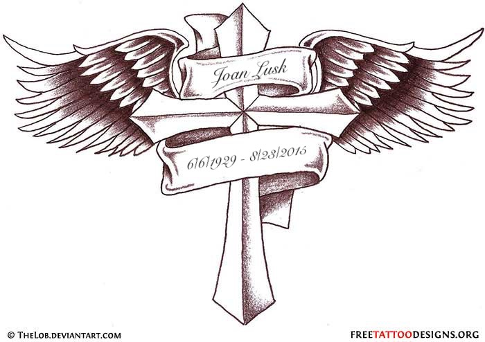 A Cross With Wings Coming Out Of Both Sides And A Tattoocom