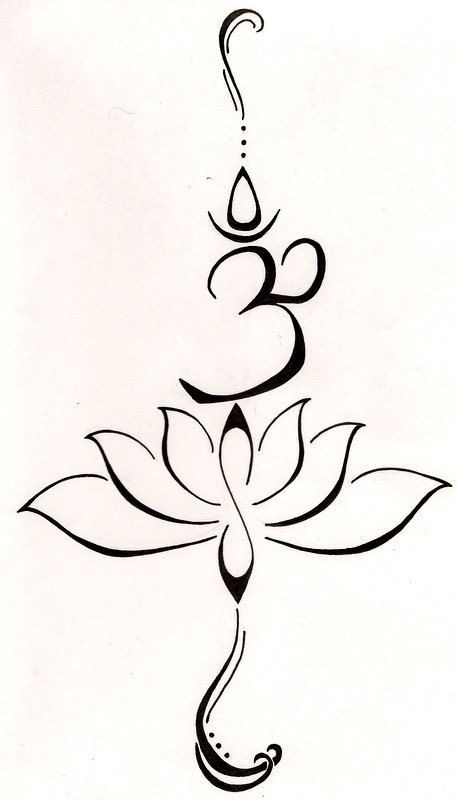 Thin Black Lotus Flower On Upper Right Arm With Om Tattoocom