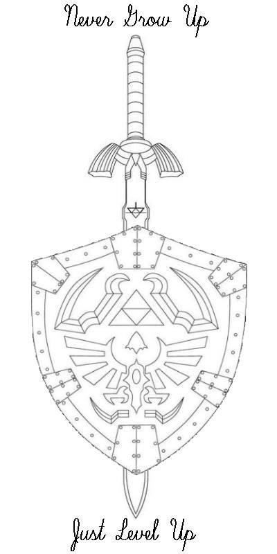 Legend of Zelda Master Sword and Hylian Shield - Tattoo.com