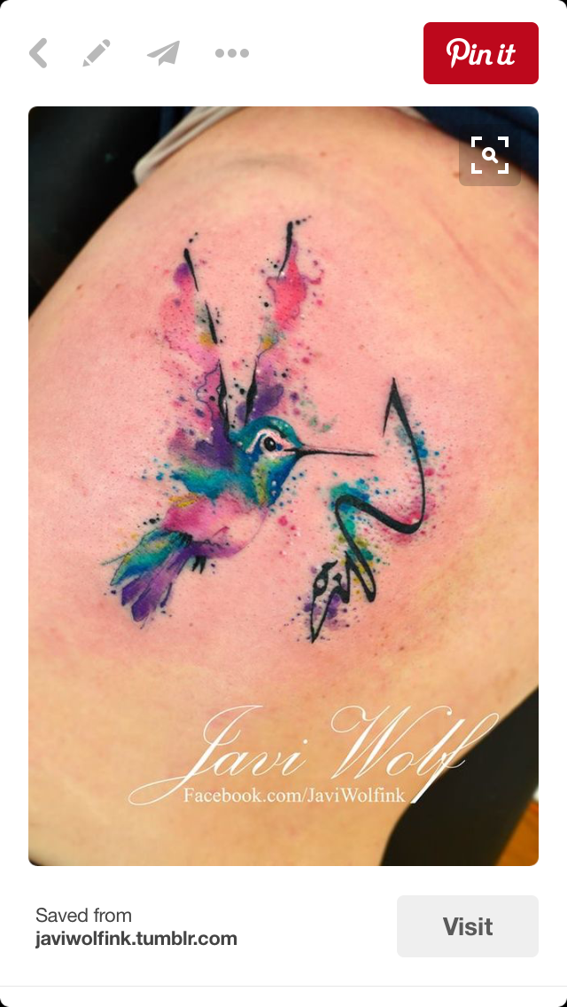 cc3eb23389f Hummingbird watercolor - Tattoo.com