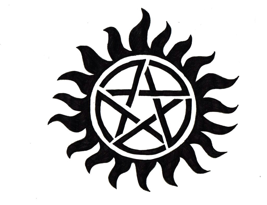 An All Black Anti Possession Symbol From Supernatural Tattoo