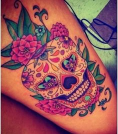 Sugar Skull With Detail On Upper Outer Thigh Tattoo Com