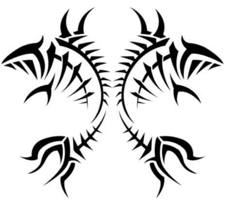Tribal Pisces Fish On Ribs Small Size Tattoo